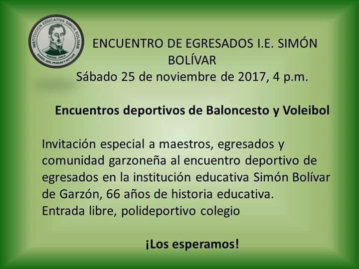 LA I.E. SIMÓN BOLÍVAR INVITA AL ENCUENTRO DEPORTIVO DE EGRESADOS