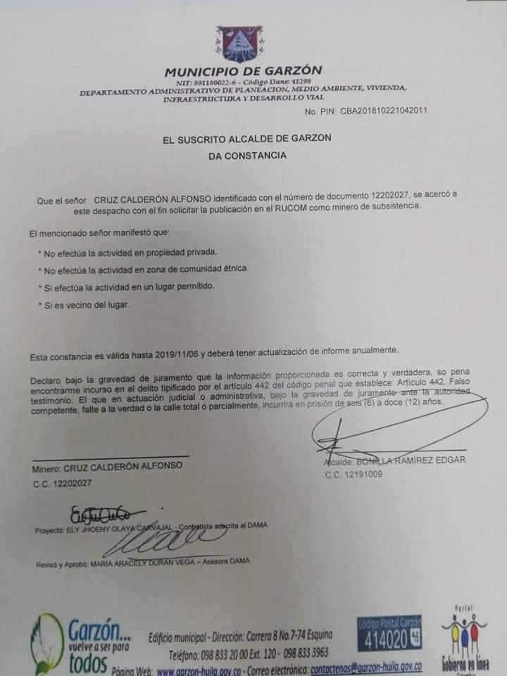 GARZÓN ENTREGO CERTIFICADOS A BAREQUEROS Y PALEROS