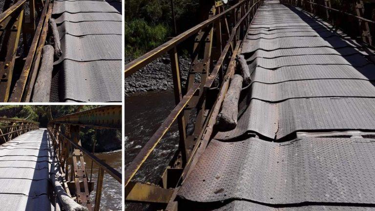Denuncian alto riesgo por precario estado del puente que comunica a Pitalito con La Laguna
