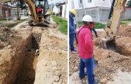 Obras de mejoramiento del alcantarillado sanitario en barrio de Pitalito
