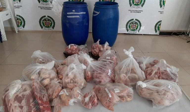 Incautan gran cantidad de cárnicos transportados ilegalmente en Paicol